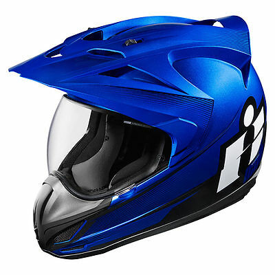 Icon Variant Double Stack Blue Full Face Dual Purpose Motorcycle Helmet