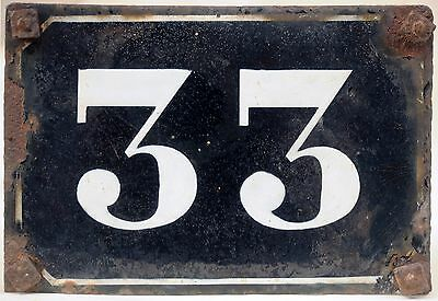 Large old black French house number 33 door gate plate plaque enamel metal sign