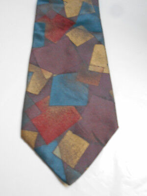 Byblos Maroon Purple Blue and Brown Silk Geometric Necktie Made in Italy