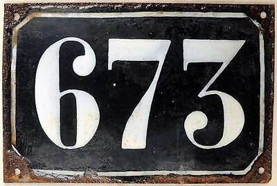 Large old black French house number 673 door gate plate plaque enamel metal sign