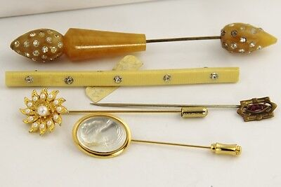 LOT VINTAGE ANTIQUE Jewelry VICTORIAN STICK PIN DECO CELLULOID BROOCH JABOT +