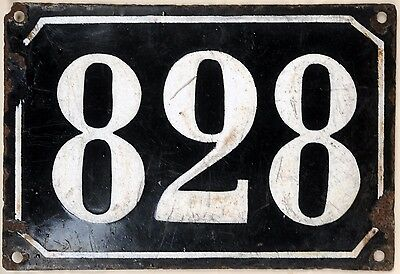 Large old black French house number 828 door gate plate plaque enamel metal sign