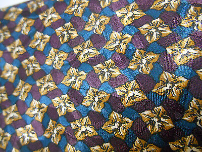 Rothman's Union Square Blue Purple and Brown Geometric Silk Necktie