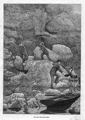 1873 Rob Roy's cave Loch Lomond Scotland Schottland Höhle antique print