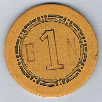 Golden Nugget Casino Yellow G1N Roulette Chip Las Vegas Nevada 1958