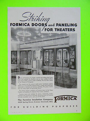 1939 The Times Theater Rockford, Ill. ~ Formica Doors And Paneling Sales Art Ad