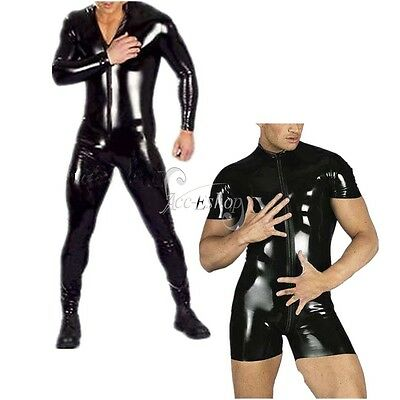Mens Sexy-Lingerie PVC Shiny Wet Look Jumpsuit Bodysuit Catsuit Clubwear Costume