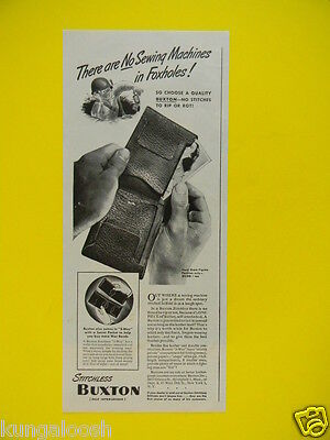 1944 There Are No Sewing Machines In Foxholes! Buxton Stitchless Billfold Art Ad