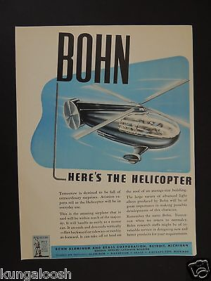 1943 Bohn Here's The Helicopter That Will Be In Everyday Use. Vintage Art Ad
