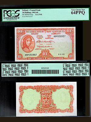 146-IRELAND. 10 Shillings 1962-68 Bank Note. Pick 63a. Dated 6-6-1968.