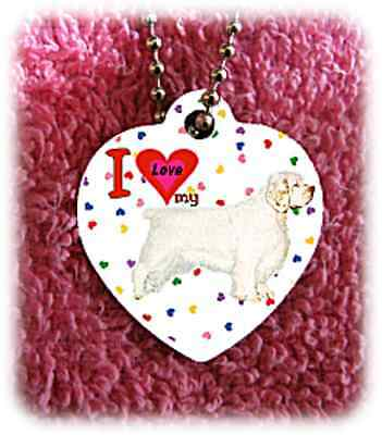 """Clumber Spaniel Dog heart necklace 24"""" chain background of hearts"""