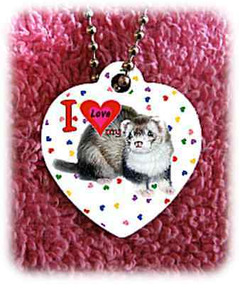 """Ferret heart necklace 24"""" chain background of hearts"""