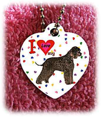 "Irish Water Spaniel Dog heart necklace 24"" chain background of hearts"