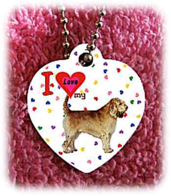 "Otterhound Dog heart necklace 24"" chain background of hearts"