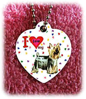 """Silky Terrier Dog heart necklace 24"""" chain background of hearts"""