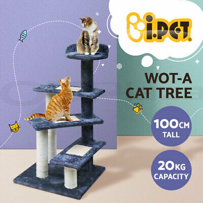 100cm Cat Tree Scratching Post Pole 3 Ladder Gym Toy House Furniture Multilevel
