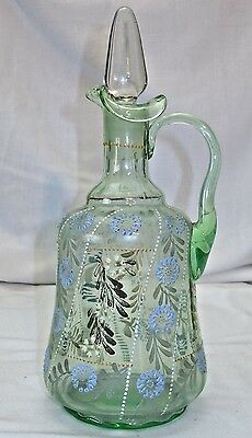 Antique Hand Painted Beaded Green Glass Decanter