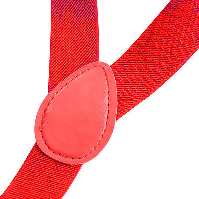 Mens Button Hole Classic Solid Elastic Suspenders Y-Shape Adjustable Braces Red