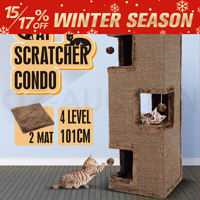Cat Scratching Post Climbing Tree Furniture Condo Barrel Tunnel House 4 Level