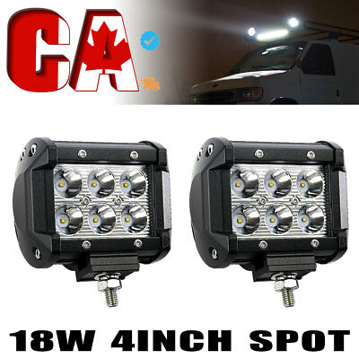 "2x 4"" 18W LED Spot Work Light Bar for 4WD Offroad Fog ATV SUV Driving Lamp"