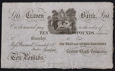 1800's CRAVEN BANK £10 BANKNOTE * UNISSUED REMAINDER * gEF * Ref 1 * Outing 366a