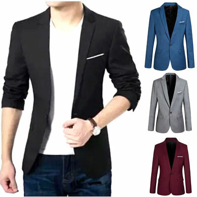 Men Casual Slim Fit One Button Suits Blazer Business Coats Jacket Formal Tops