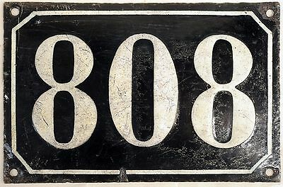 Large old black French house number 808 door gate plate plaque enamel metal sign