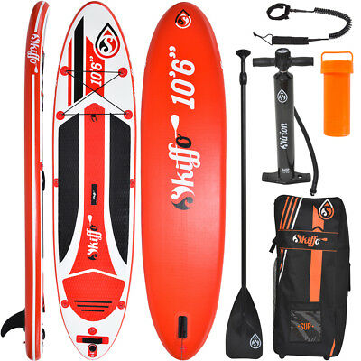 SKIFFO SUP Board Stand Up Paddle Surf-Board aufblasbar Paddel ISUP Aqua 320 cm