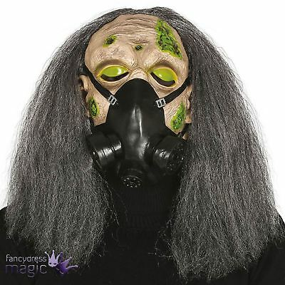 Adult Zombie Toxic Monster Creature Horror Halloween Head Gas Mask With Wig Hair