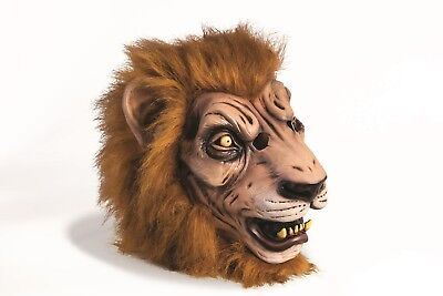 Deluxe Latex Mask Lion Adult Costume Accessory Furry Halloween Party One Size