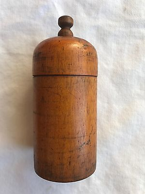Antique Turned Wood Box Canister Spice Keeper Domed Lid Treenware Treen1800s !