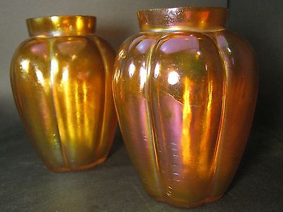 Rare Wmf Myra Iridescent Honey Coloured Vase Pair Germany