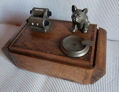 Antique Magnificent Desk Box  Cigarette Ashtray Calendar Bulldog