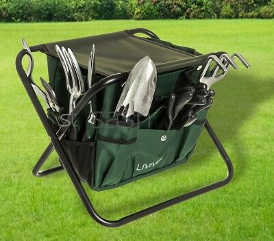9Pc Garden Tool & Folding Stool Set Bag Hand Trowel Rake Pruning Shears Stand