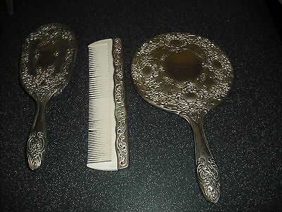 Silver Plated Mirror,Brush and Comb Vanity set