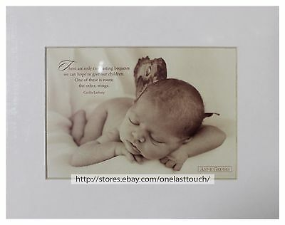ANNE GEDDES 8 x 10 Art Photo MATTED PRINT Picture BABY+BUTTERFLY WINGS Sepia NEW