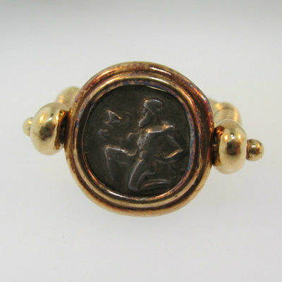 14k Yellow Gold 411- 350 B.C. Silver Satry Coin of Thasos Reversible Ring with C