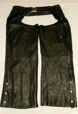 Genuine Leather Motorcycle Riding Chaps with Lining, 6XL, Black