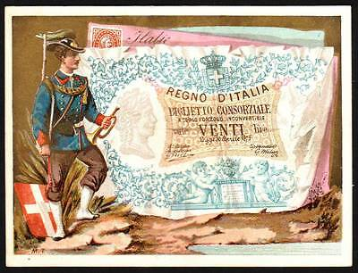 Old Label - Italian Military , Coat of Arms and 20 Lire  Paper Money 1870s