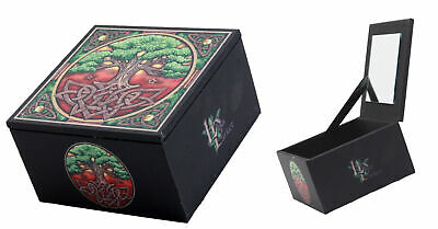 Wicca Celtic Sacred Tree of Life Mirror Jewelry Box Personal Trinket Keepsake