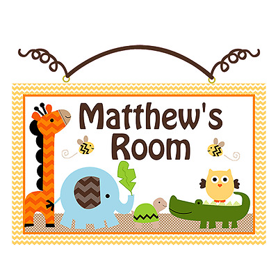 """Personalized """"Jungle Animal Stack"""" Canvas on Wood Sign Kids Baby Plaque Wall Art"""