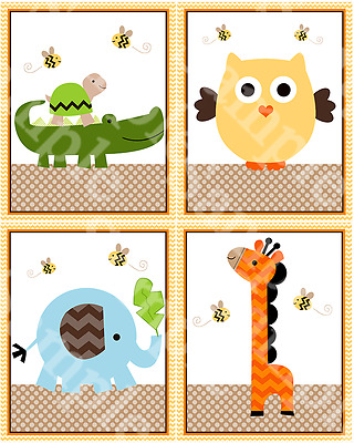 "A set of 4 ""Jungle Stack Animals"" 8x10 Nursery Art Prints"