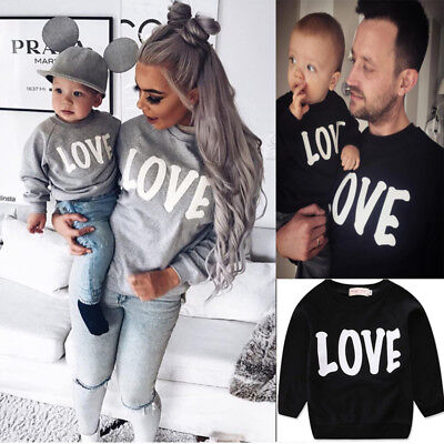 Mom Kids Letter Print Long Sleeve Parent-child Sweatshirts Family Clothe Outfit