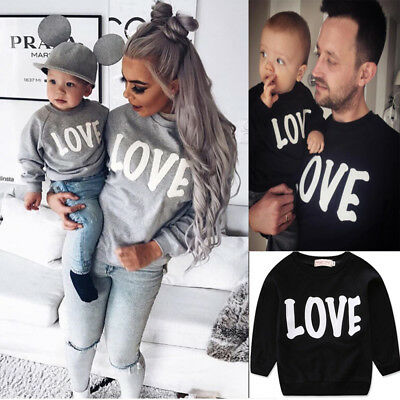 Toddler Kids Girls Adult MOM Son Matching Shirts Family Clothes Love Tee Tops