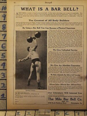 1928 Milo Bar Bell Dumb Weight Train Strength Fitness Health Body Gym Ad  Bm29