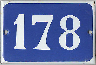 Old blue French house number 178 door gate plate plaque enamel steel metal sign
