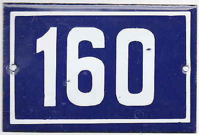 Old French house number 160 door gate plate plaque enamel steel metal sign