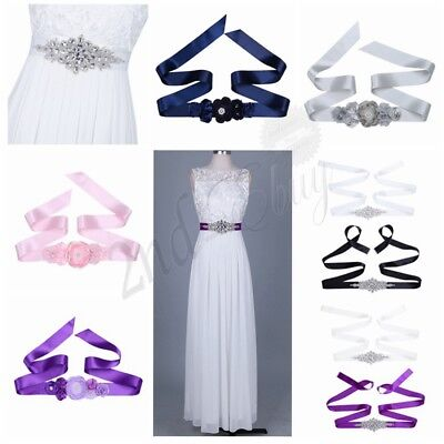 Women Handmade Rhinestone Sash Belt Bridal Gown Wedding Dress Crystal Belt Sash