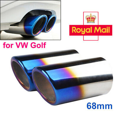 2× 68mm Stainless Steel Exhaust Rear Muffler Tip Tailpipe VW Golf VI II Scirocco