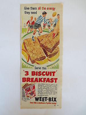Vintage advertising original 1950s Australian ad WEET-BIX breakfast biscuits